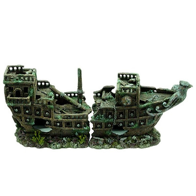 Galleon Ship Wreck Fish Tank Aquarium Boat Ornament Shipwreck Decoration MS917