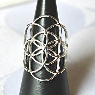 Large Seed of Life Sterling Silver Flower of Life Ring~Sacred Geometry~Reiki~New