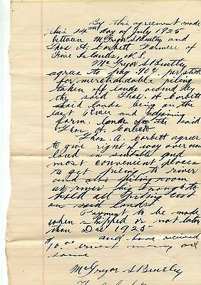 Old 1925 Document Agreement Thos A. Corbett Five Islands NS