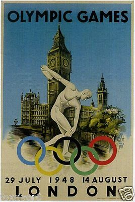 OLYMPICS London 1948 Mini-Poster / Handbill Summer Olympic Games - reprint