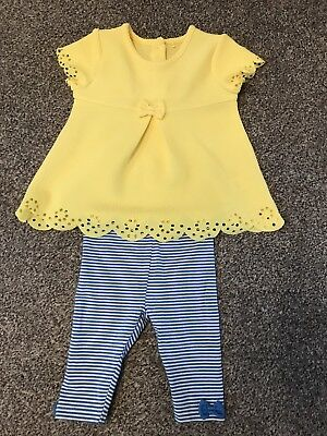 Pretty Girls 2 Piece Outfit Set Top Leggings Yellow Blue 0-3 Months