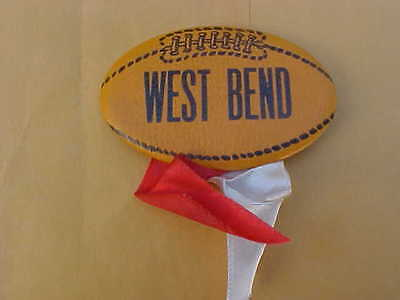 Vintage Football Pin Pinback with Ribbons West Bend Wi Wisconsin See Pic's