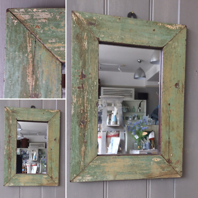Reclaimed Wood Painted Mirror in Green