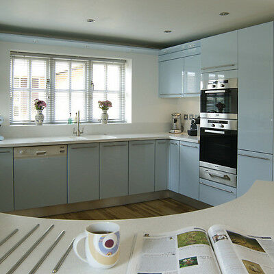 New - High Gloss (Handles) - Complete Fitted Kitchen - Pale Blue