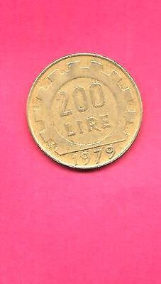 Italy Italian Km105 1979 Vf-Very-Nice Large Old 200 Lire Coin