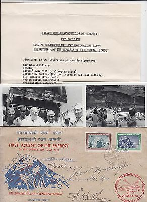 Stamps NEPAL Edmund Hillary souvenir cover signed plus letter and photos, scarce