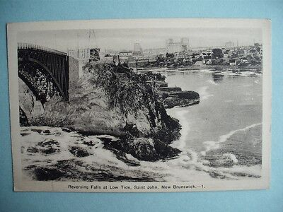 Reversing Falls Low Tide St John New Brunswick Canada Photogelatine Postcard