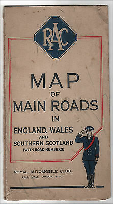VINTAGE - RAC MAIN ROAD MAP – ENGLAND WALES AND SOUTHERN SCOTLAND CIRCA 1930s