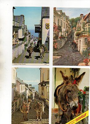 32 postcards of CLOVELLY DONKEYS