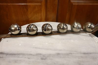 "6 Large Metal 1 1/2""  Bells Silver Tone on 17"" x 1""Leather Strap ? Sleigh Bells"