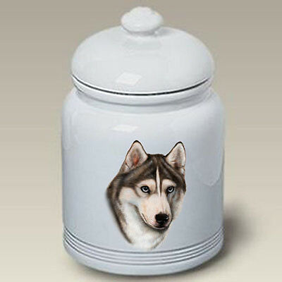 Ceramic Treat Cookie Jar - Grey & White Siberian Husky (TB) 34018