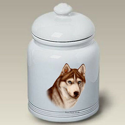 Ceramic Treat Cookie Jar - Red & White Siberian Husky (TB) 34230