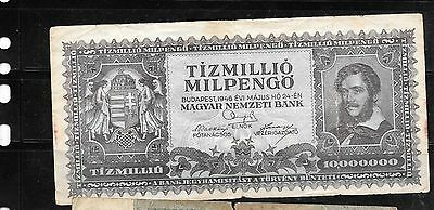 Hungary #129 1946 10 Million Milpengo Vg Circulated Banknote Paper Money  Note