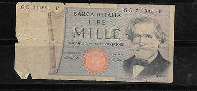 ITALY #101a 1969 GOOD USED OLD 1000 LIRE BANKNOTE PAPER MONEY CURRENCY BILL NOTE