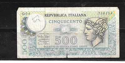 Italy #94 1974 Good Circ 500 Lire Old Banknote Paper Money Currency Bill Note
