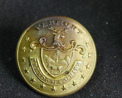1855-60 VERMONT STATE MILITIA OFFICER'S 23mm GILT Scovill MF'G CO Waterbury rmdc