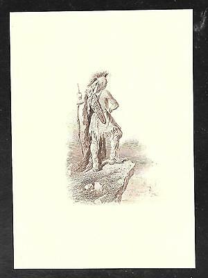 """Engraving - INDIAN Vignette """"Standing on Cliff"""" by ABNC - Mint condition"""