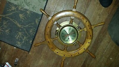 "Vintage Quartz Ship's Time Ship's wooden Wheel and Brass Clock 25"" Running"