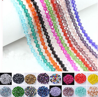 Lots 3mm/4mm/6mm/8mm Bicone Faceted Crystal Glass Loose Beads Jewelry Making DIY