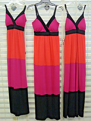 ALLISON BRITTANY THREE Piece LOT of MAXI Dresses Coral Pink Black NEW SIZE SMALL
