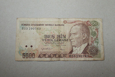 1990s Circulated Turkish 5000 Lira Banknote