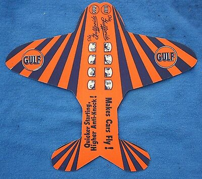 Copyright 1934 GULF No-Nox Gasoline Die-Cut Advertising Airplane
