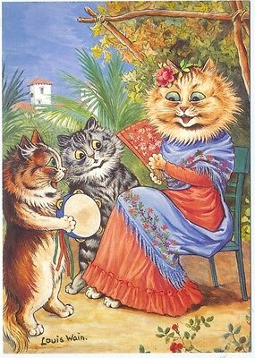 Louis Wain  Spanish Cats  Victoria &  Albert Museum    Postcard