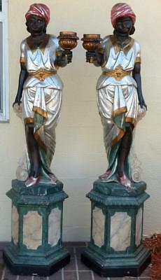 Pair of Blackamoor Carved Wood Statues,Venetian Women,6 feet tall c.1900