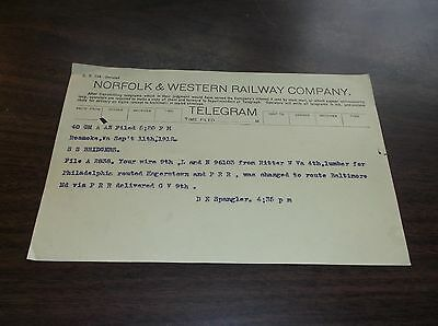 September 1912 N&w Norfolk & Western Telegram Roanoke, Virginia