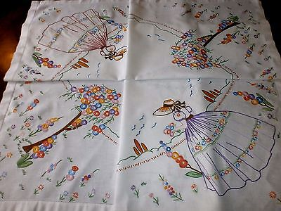 The Most Exquisite Vintage Linen Embroidered Large Crinoline Ladies Tablecloth
