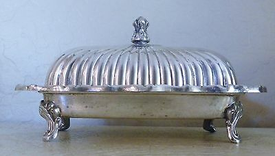 Vintage Silverplate Footed Butter Dish With Lid & Glass Liner