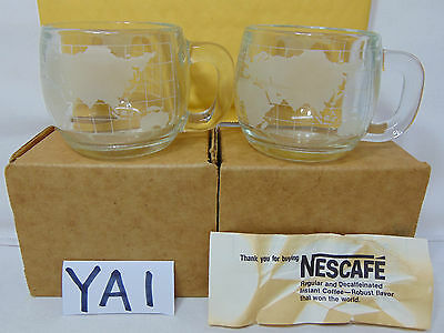 LOT OF 2 VINTAGE 1970's NESTLE NESCAFE GLASS WORLD GLOBE MAP COFFEE CUPS MUGS