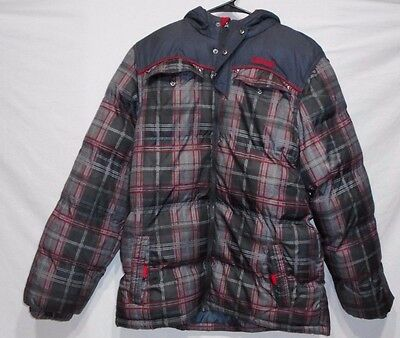 PACIFIC TRAIL - gray Plaid - HOODED WINTER COAT JACKET - Full Zip - MENS XL #