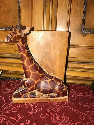 Solid Wood Carved Giraffe & Book Bookend Figurine