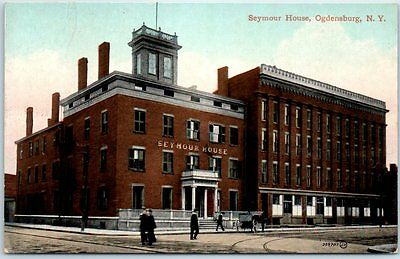 Ogdensburg, New York Postcard SEYMOUR HOUSE HOTEL Street View c1910s Unused