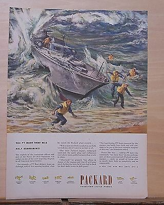 1945 magazine ad for Packard - PT Boat that was 1/2 Submarine! WW2 ad, Stahl art