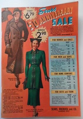 1936 Vintage SEARS CATALOG Fashions Lingerie Hosiery Shoes Furniture 92 Pages