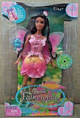 Barbie Fairytopia Elina Doll & Bibble Wings Lite Up 2004 *nu*