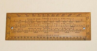 Nice 1918 Dated Naval Officer's Wooden Ruler With Makers Name