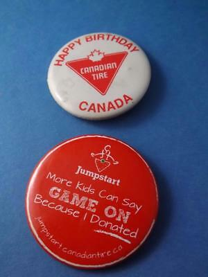 Canadian Tire Store Vintage Button Lot Happy Birthday Canada Jump Start Promo