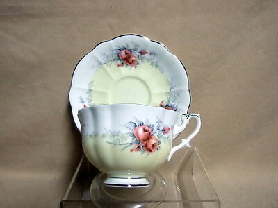 Royal Albert Moonglow Rose Marie Series Footed Tea Cup and Saucer