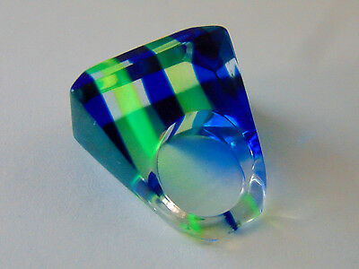 Vintage Blue Neon Green Clear Lucite Chunky Dome Ring Sz 5 / 5.25