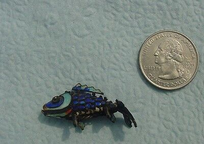 Articulated Oriental Fish Enameled Pendant Blue Colors