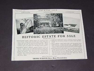 Vtg 1922 CRESBROOK FARM Home Real Estate Sale Valley Forge Pa. Original Print Ad