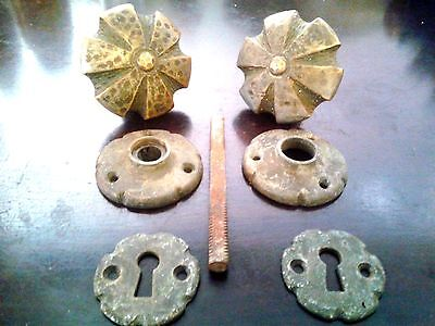 Antique Arts Crafts solid hammered brass / bronze ornate door knob set