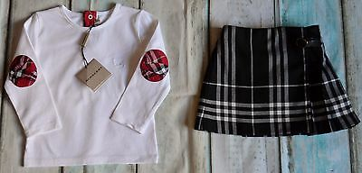 New & Used Burberry Baby Girls Designer Clothes Bundle T-shirt & Kilt 1-2 Years