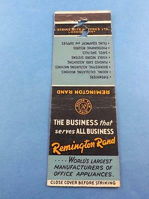 Remington Rand Office Appliances Typewriter Vintage Matchbook Cananada Tax Stamp