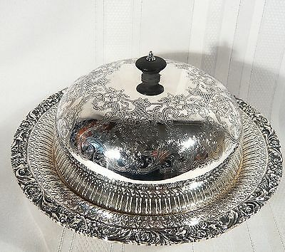 VERY FINE Vintage Silver Plate 3 pce COVERED Muffin / Serving Dish 10 inch