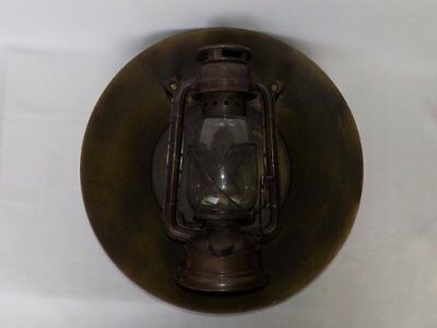 Antique Replica Old West Pony Express 1860 Wall Reflector Dish Oil Lamp Lantern
