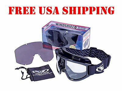 Global Vision Windshield Goggle Kit Fits Over Glasses Motorcycle Biker Goggles